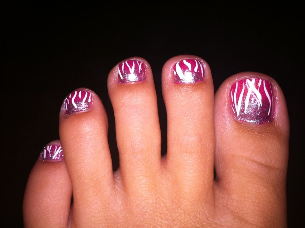 Flame Toenails- 1.) Begin with clear basecoat 2.)Use solid ...