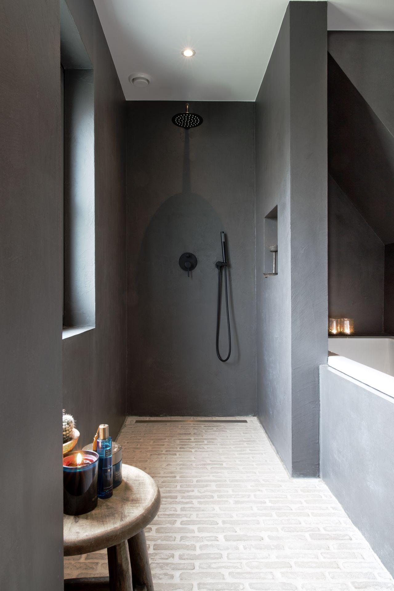 Beton ciré wanden in de badkamer   Willem Designvloeren   Badkamer ...