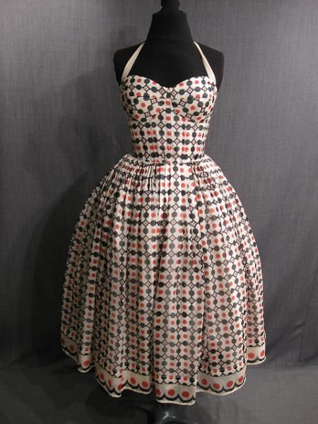 Dress Womens 1950s cream black red print chiffon
