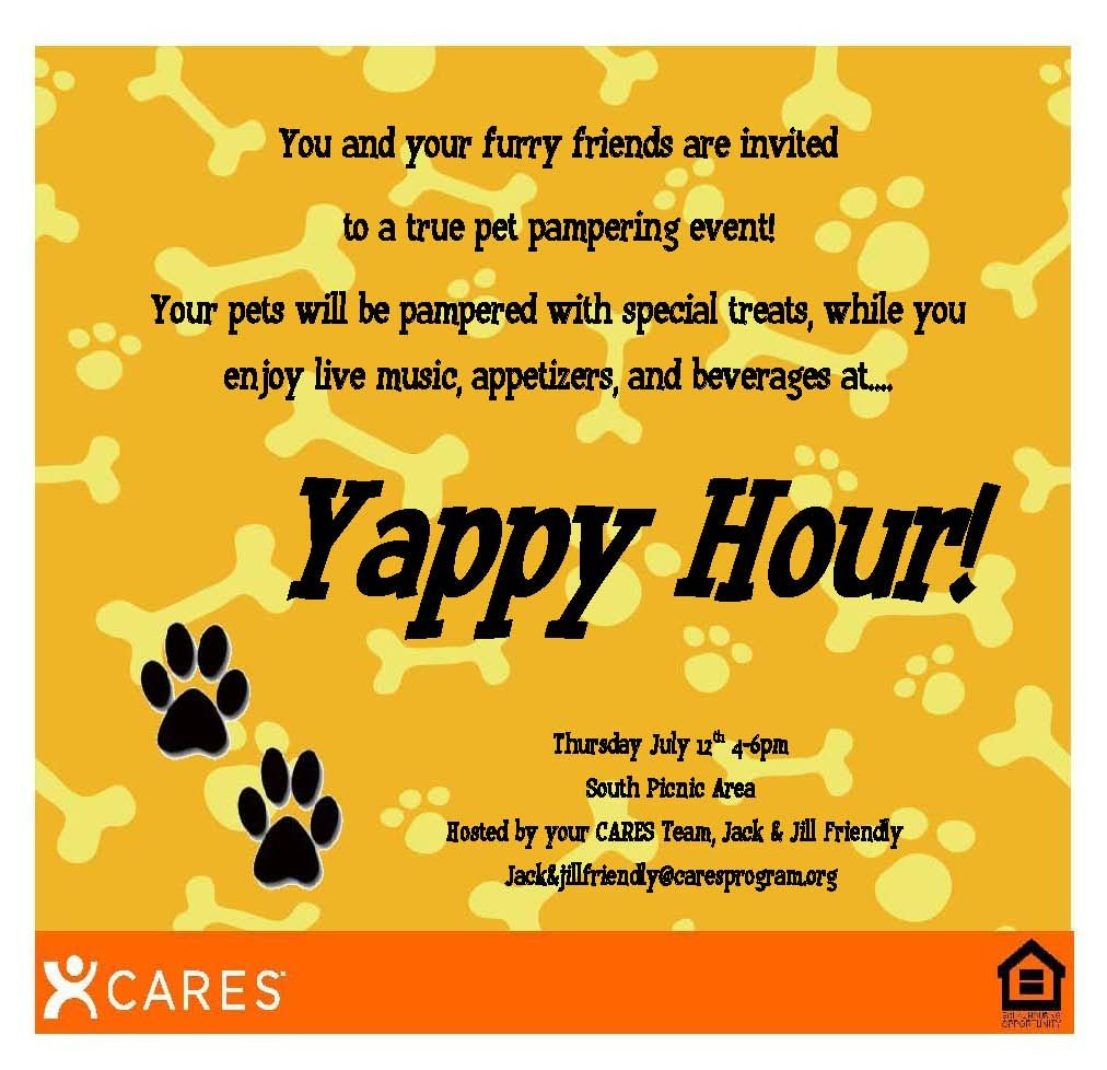 Apartment Leasing Office: Yappy Hour!! The Dogs Would Love It!!!!