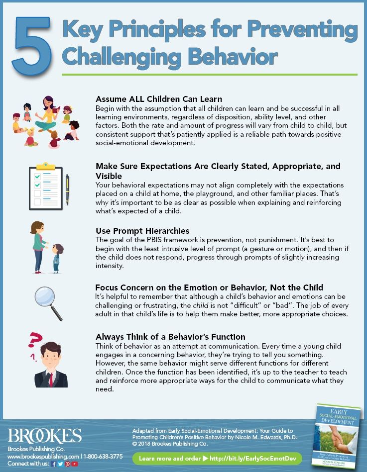 5 Key Principles For Preventing Challenging Behavior Infographic Brookes Publishing Co Challenging Behaviors Social Emotional Development Emotional Development
