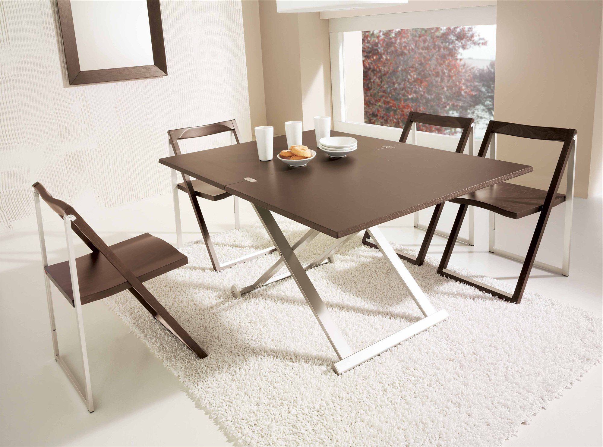 Modern Simple Folding Dining Table With Four Folding Chair , Simple Design  And Safe Room Space With Folding Dining Table In Diningroom Categ.