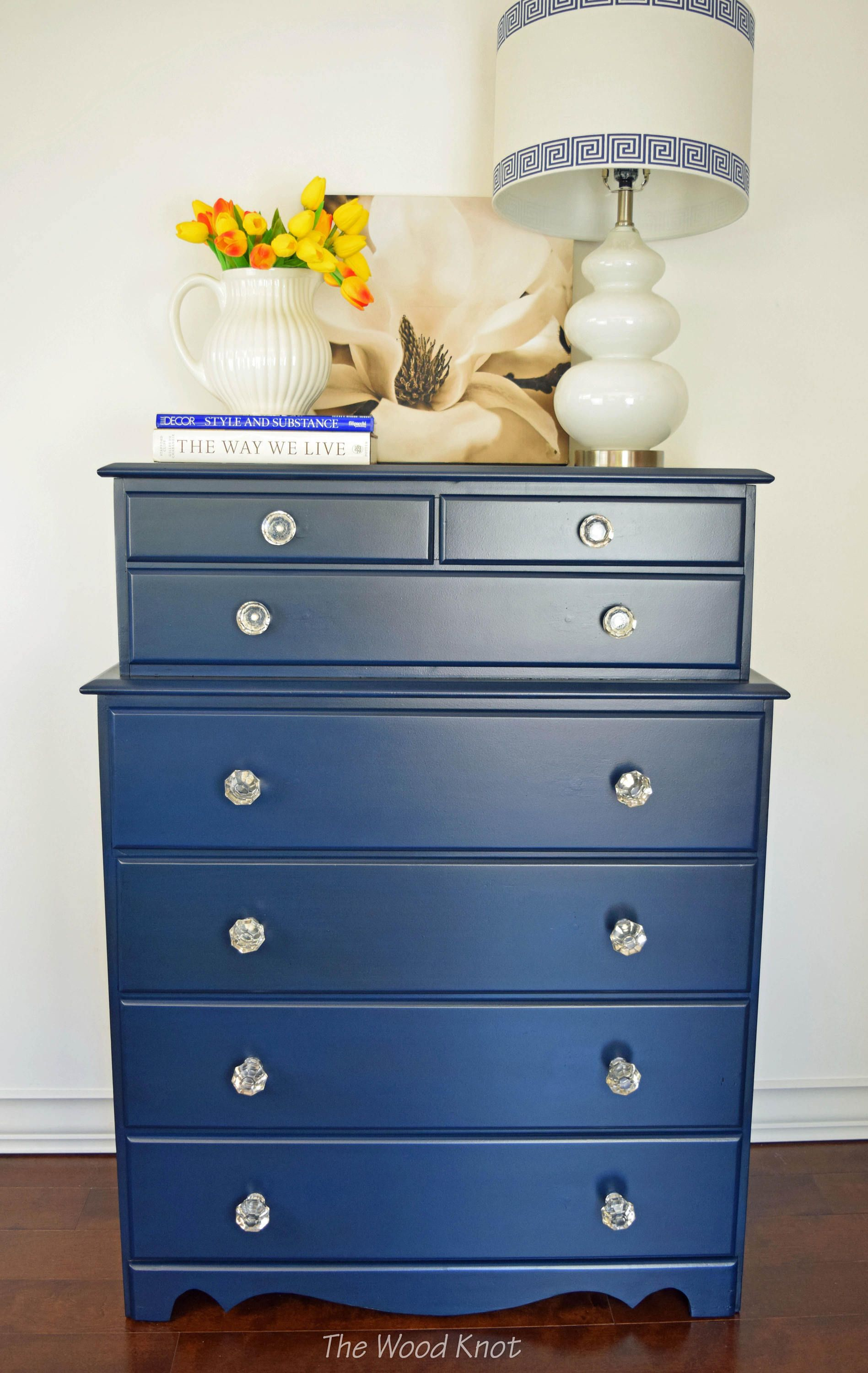 Blue Highboy Dresser With Gl S Painted Annie Sloan Chalk Paint In Napoleonic