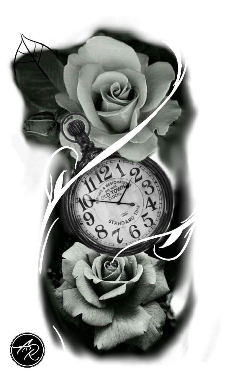how to draw clock tattoos