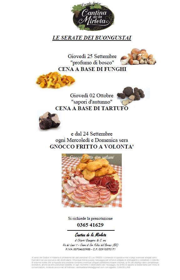 LE SERATE DEI BUONGUSTAI -Traditional local food at the Cantina de la Mirleta
