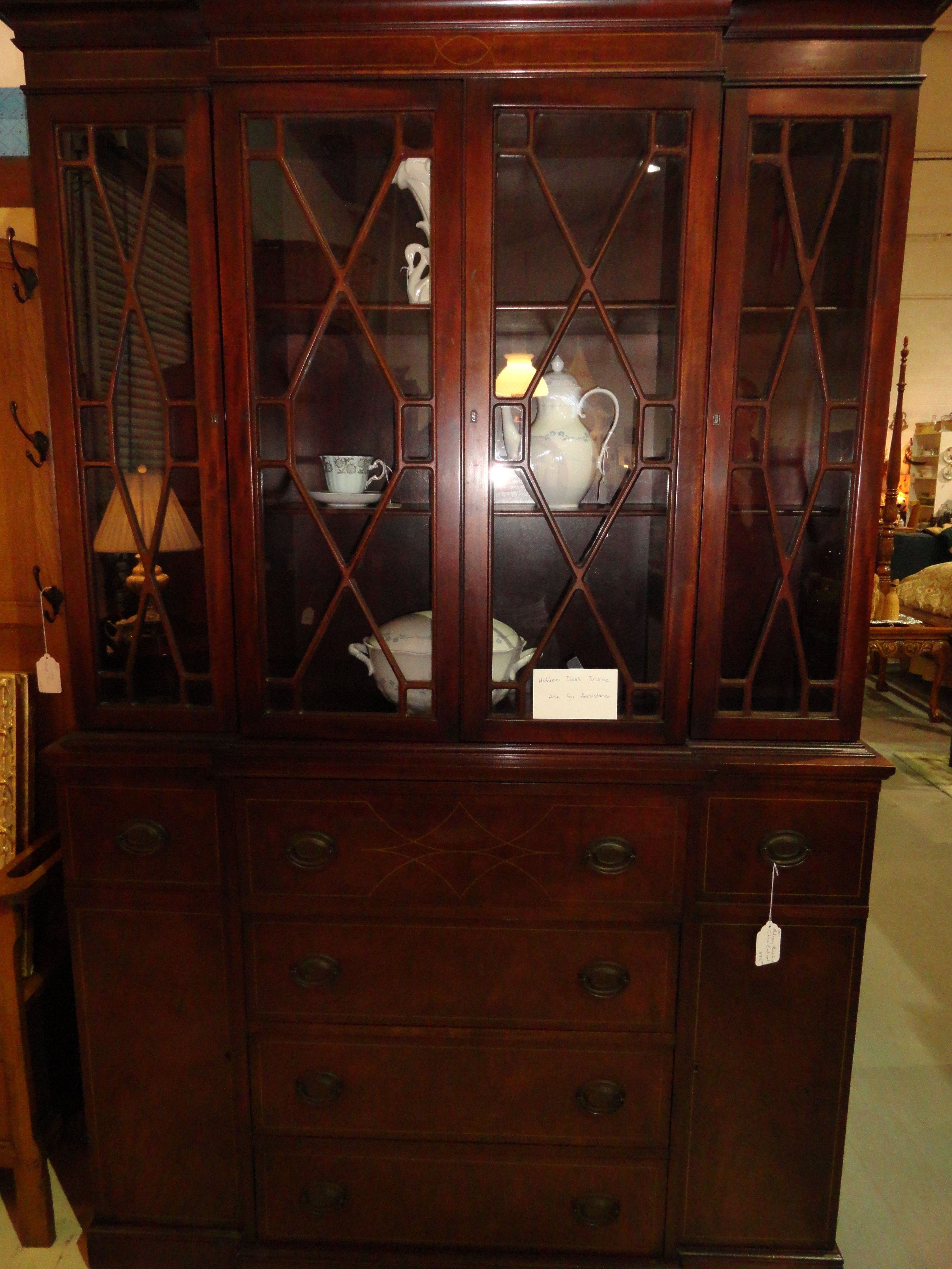 Bon Large Mahogany Cabinet With Hidden Pull Out Desk Inside.