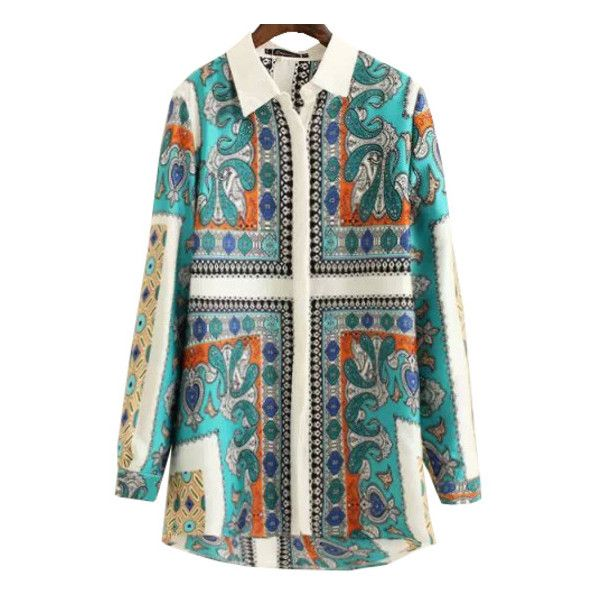 SheIn(sheinside) Green Lapel Long Sleeve Vintage Print Blouse (21 CAD) ❤ liked on Polyvore featuring tops, blouses, green, button blouse, collar blouse, vintage blouse, long sleeve chiffon blouse y pattern blouse
