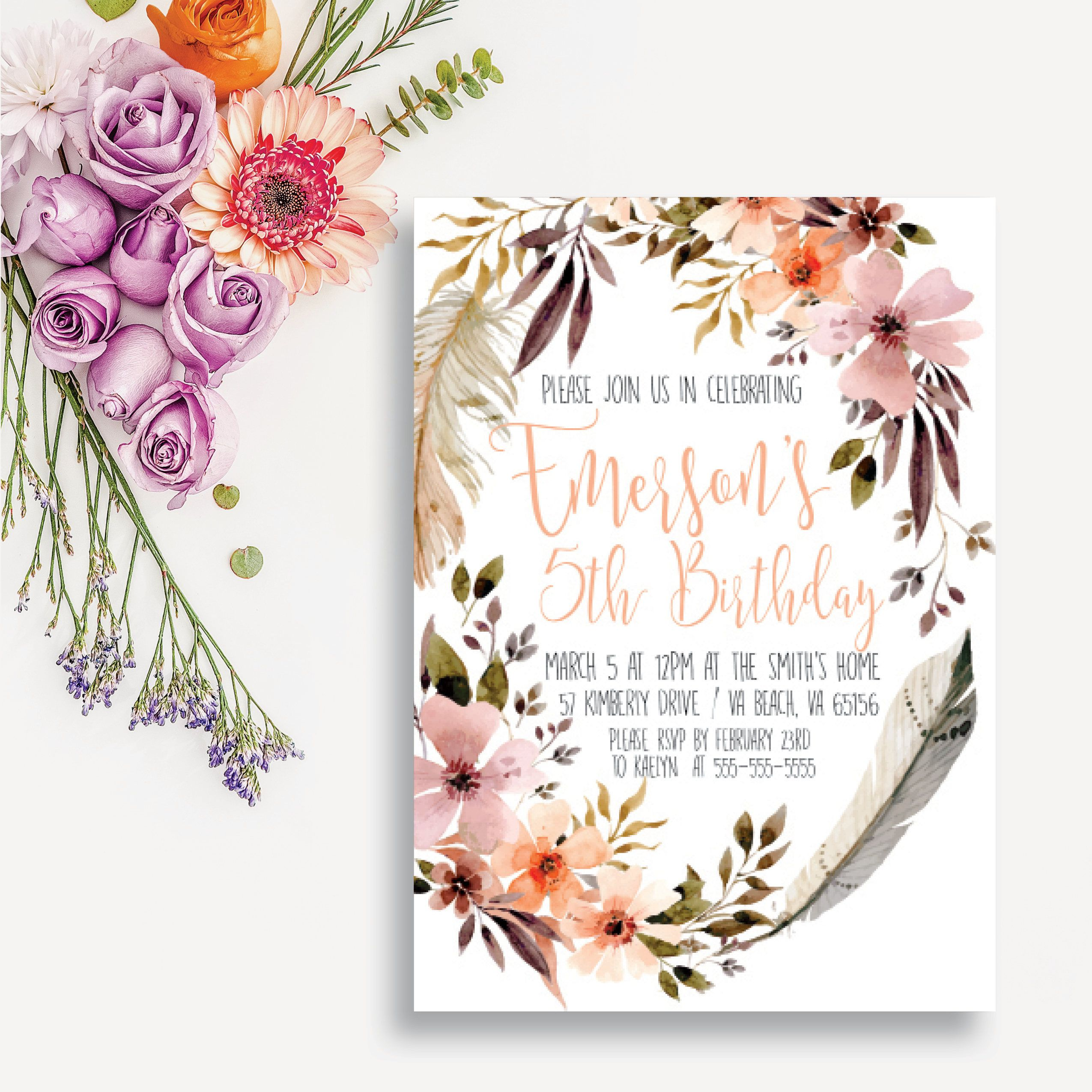 Bohemian Birthday Invitation Boho Chic Birthday Card Girl Boho - 5x7 birthday invitation template