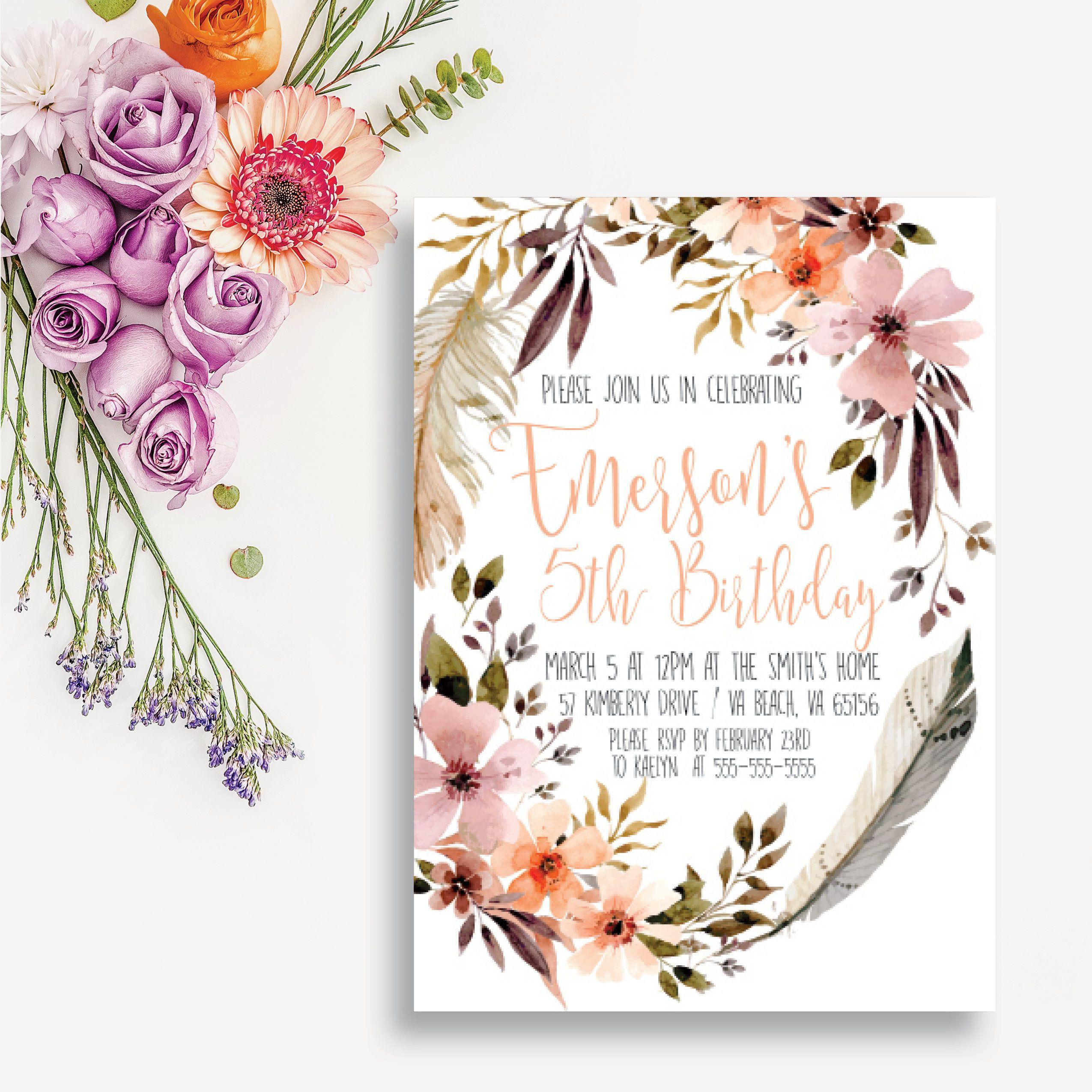 Bohemian, Birthday Invitation, Boho chic, Birthday Card, Girl Boho ...
