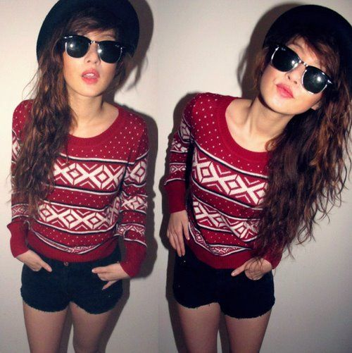 sweater sunglasses hat
