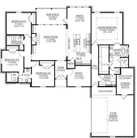 653665 4 Bedroom 3 Bath And An Office Or Playroom House Plans Floor Plans Home Plans Plan It 4 Bedroom House Plans House Floor Plans Home Design Plans