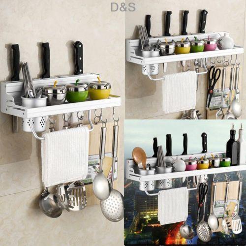 Details About Kitchen Utensil Gadget Wall Hanging Rack