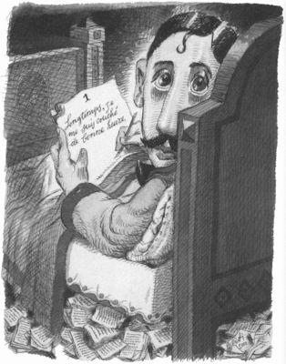 Resultado de imagen de marcel proust caricatura