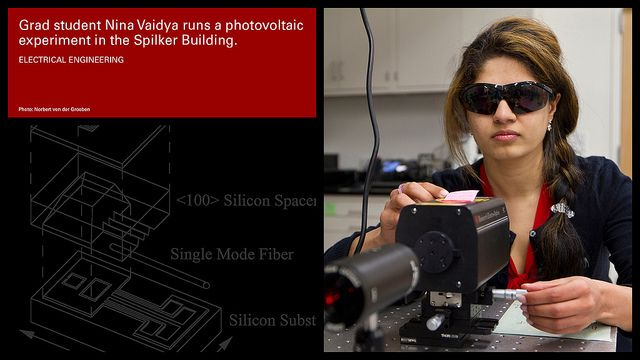 Stanford grad student Nina Vaidya runs a photovaltaic experiment in the Spilker Building.