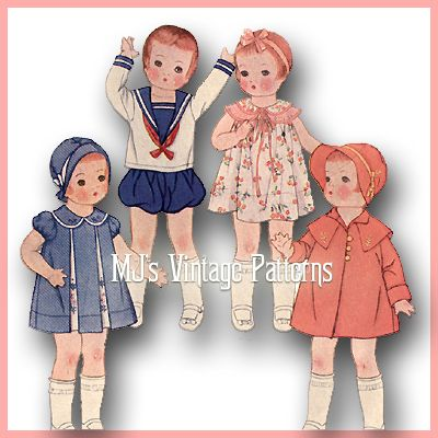 """Composition Patsy Vtg 1930s Doll Clothes Pattern ~ 24/"""" 25/"""" Shirley Temple"""