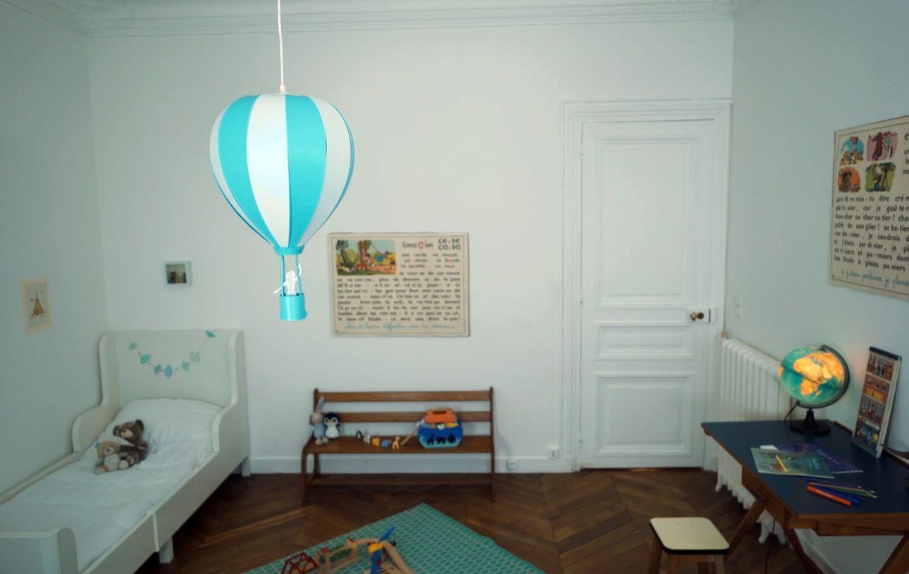 Lampe Suspension Enfant Montgolfiere Bleu Turquoise Creation