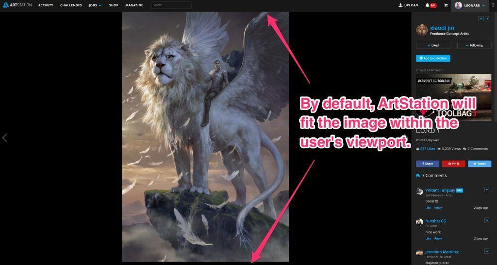 Maximizing images on ArtStation