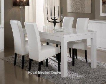 Italiaanse design Hoogglans wit eettafel tafel 1