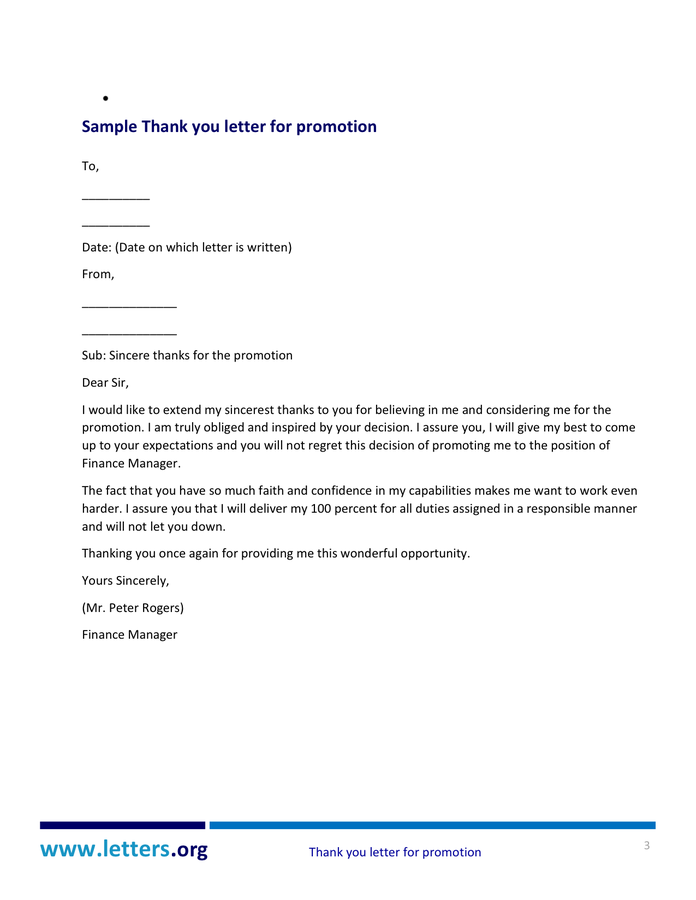 Www Letters Org Thank You Letter For Promotion Sample Messages