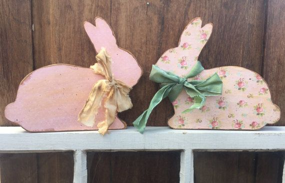Shabby Chic Wood Easter Bunny by Cards4Charlie on Etsy
