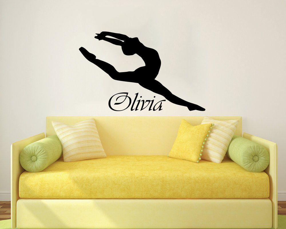 Wall Decals Custom Personalized Name Ballerina Acrobatics Girl ...
