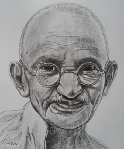 Mahatma gandhi original celebrity portrait drawing portrait art inspirational leader by ourartycreations on etsy