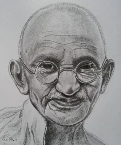 Mahatma gandhi original celebrity portrait drawing for Inspirational pencil sketches