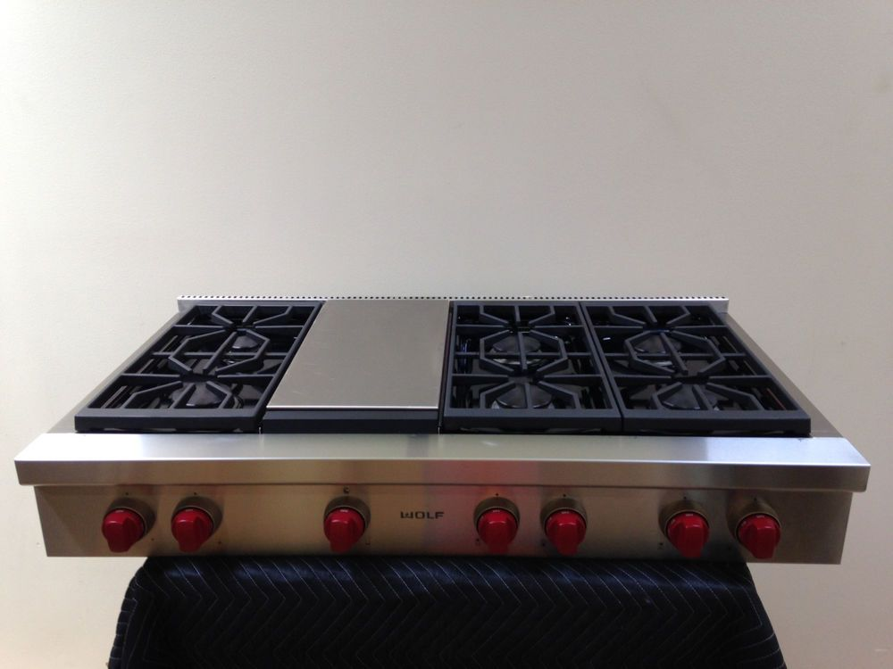 Wolf Srt486g 48 Gas Range Top 6 Burners With Griddle Cooktop