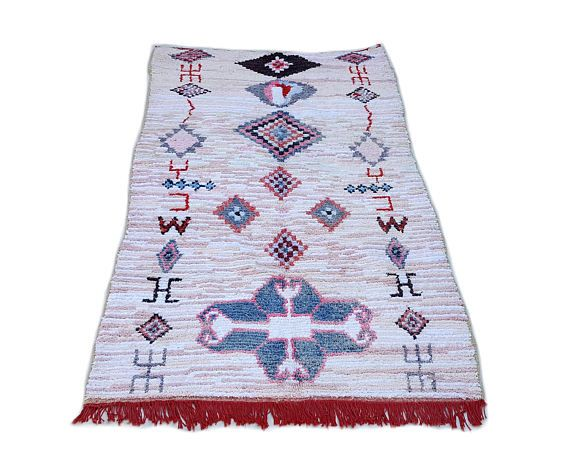 "92""X49"" Moroccan rug handwoven from scraps of fabric / boucherouite / boucherouette / kilim rug / beni ourain / moroccan wedding blanket"