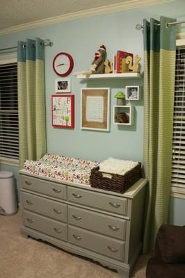 Decor above dresser changing table our modern woodland for Above the crib decoration ideas