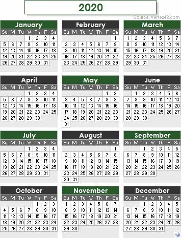 2020 calendar templates and images 12 month colorful calendar for 2020 free prin…
