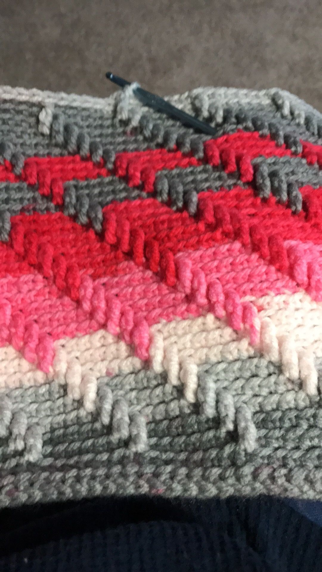 Apache tears Afghan crocheted with Bernat Pop! In Lipstick on my Co ...