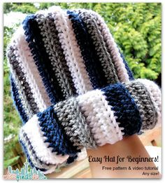 How to Crochet Video: Free Hat Pattern for Scrap Yarn https://babytoboomer.com/2013/03/09/crochet-how-to-video/ #freecrochetpattern