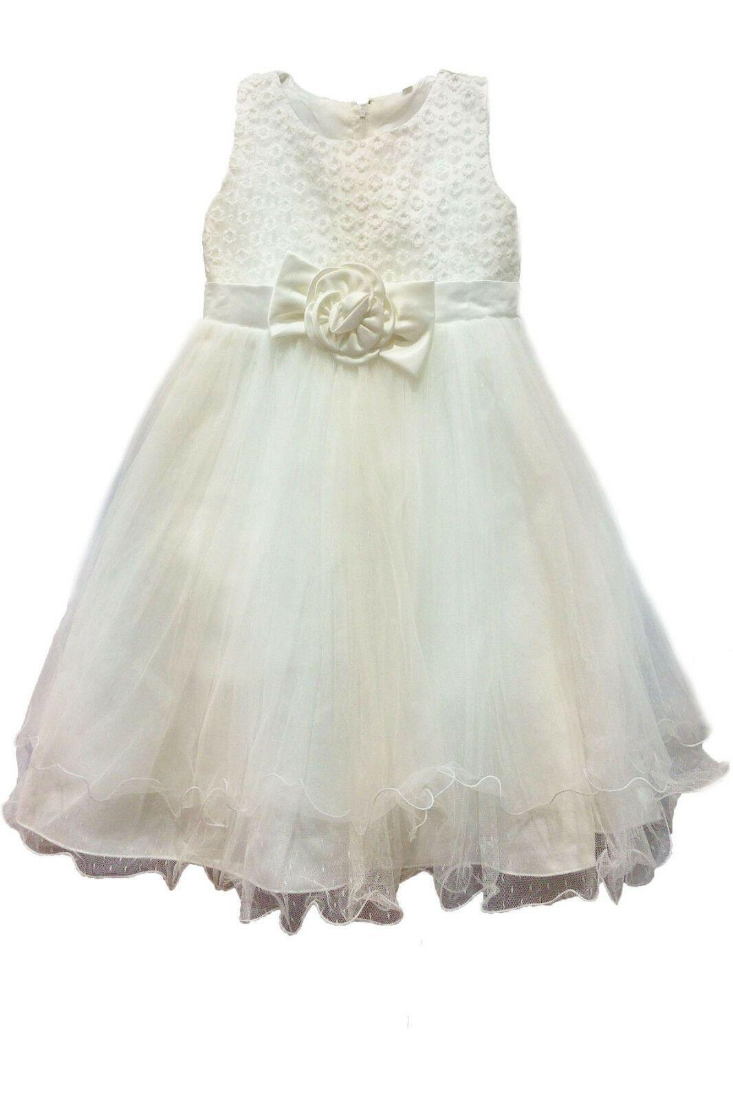 Bébé Blanc Princesse Filles Robe de baptême mariage Sequin Party Kids clothes