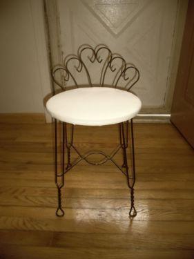 Vintage Metal Scroll Wire Vanity Chair Seat Stool