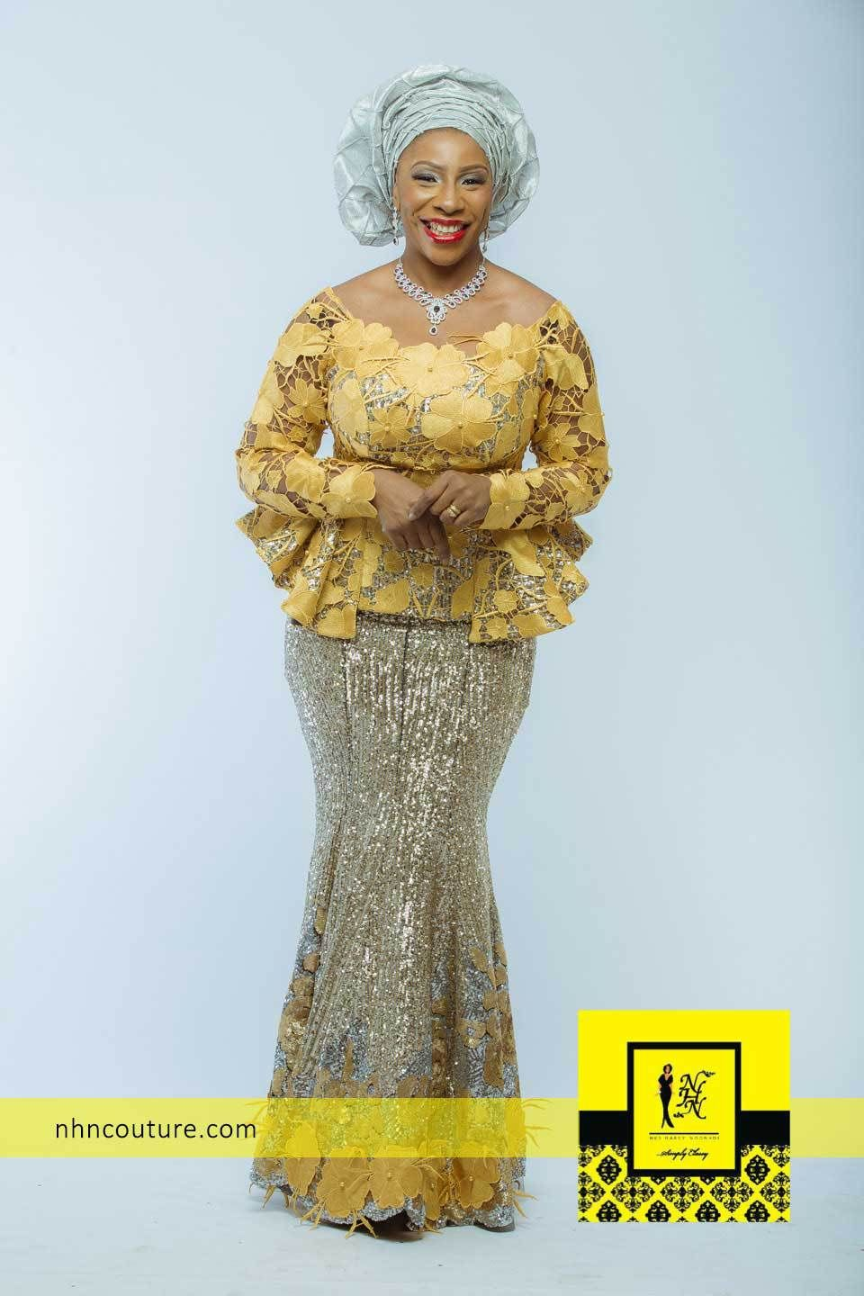 Nhn couture gold ensemble igbo tops wrapper pinterest for African lace wedding dress