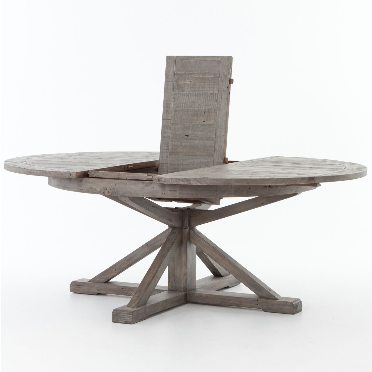 Cintra Reclaimed Wood Extending Round Dining Table 63 Rustic