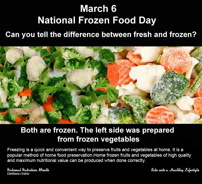 Dietitians Online Blog March 6, National Frozen Food Day