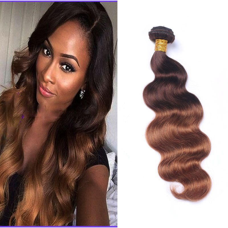 Brazilian Ombre Brown Human Hair Weave 3 Bundles Colored Brzailian 4