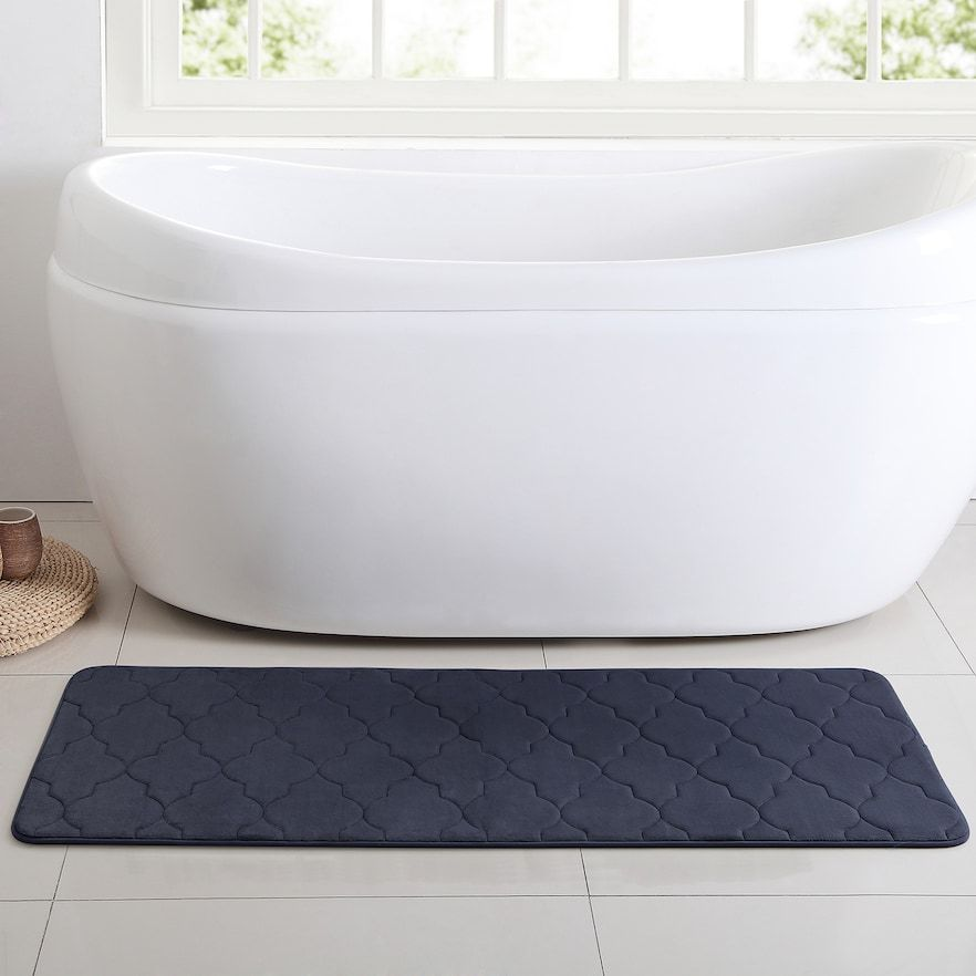 Vcny Memory Foam Bath Mat Runner Blue 24x60 Bath Mat Runner