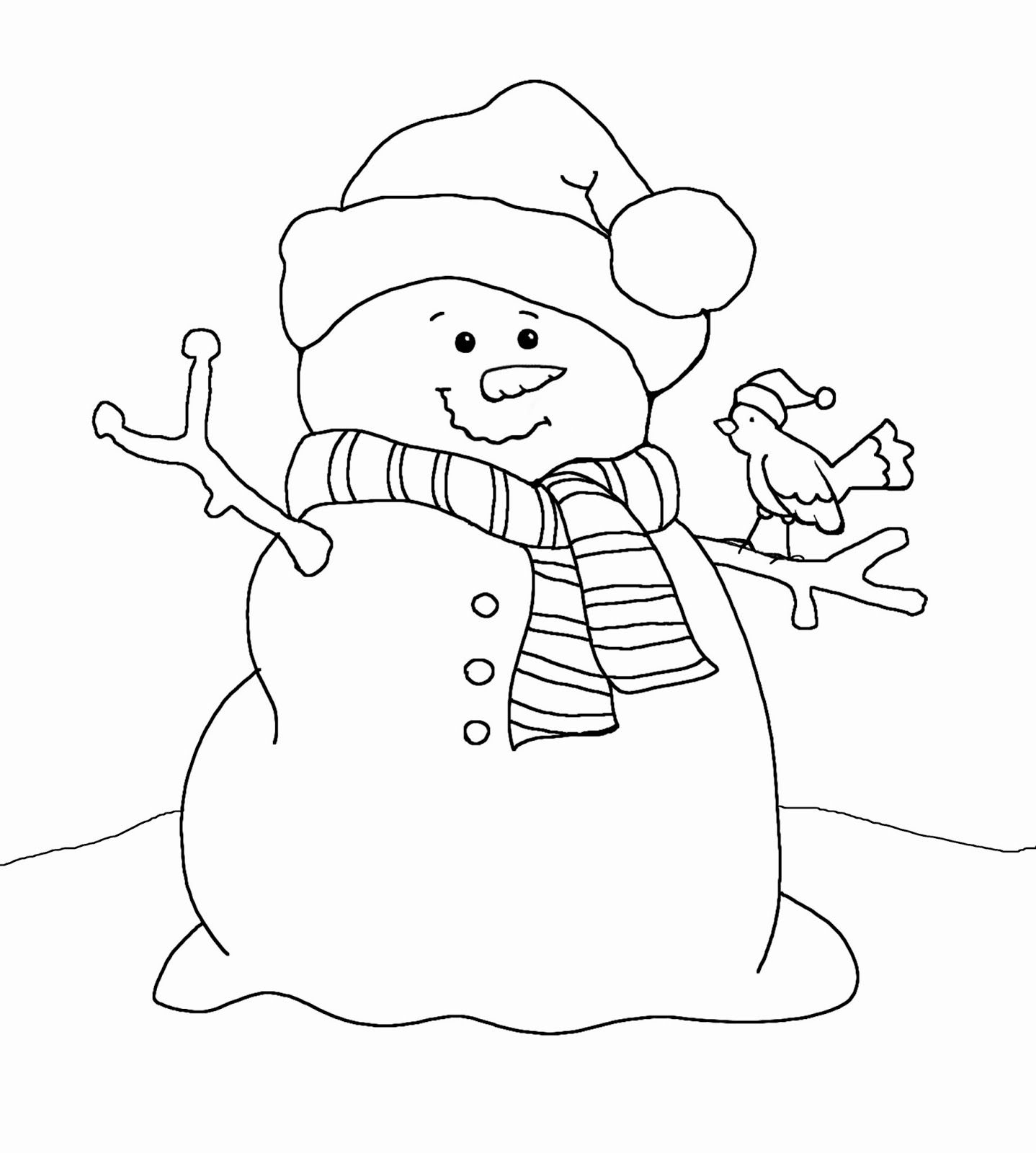 Snowman Coloring Pages Free Christmas