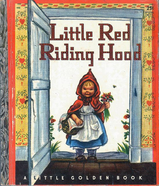 LITTLE RED RIDING HOOD    		Illustrated by Eloise Wilkin. Little Golden Book, Simon & Schuster  1948 -Chapáuzinho com olhar satânico