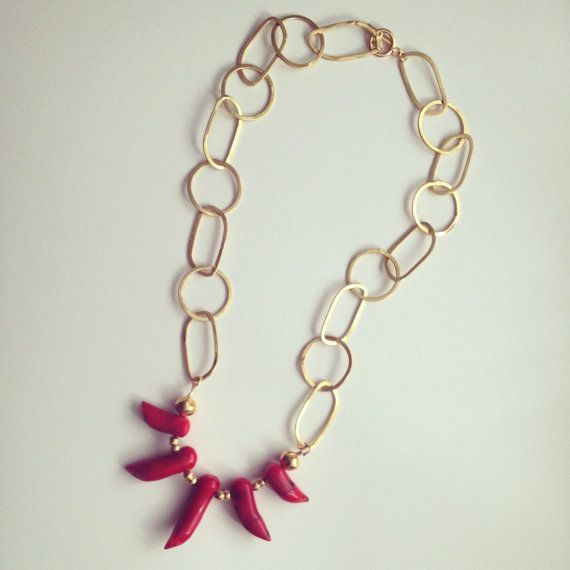 Red Pepper Shaped Coral Bead Necklace with by RaquelDoloresDesign