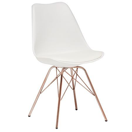 living u0026 co dining chair white with copper legs