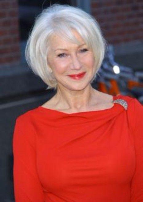 35 Celebrities Who Rock The Short Bob Helen Mirren Hair Silver White Hair Short Hair Styles