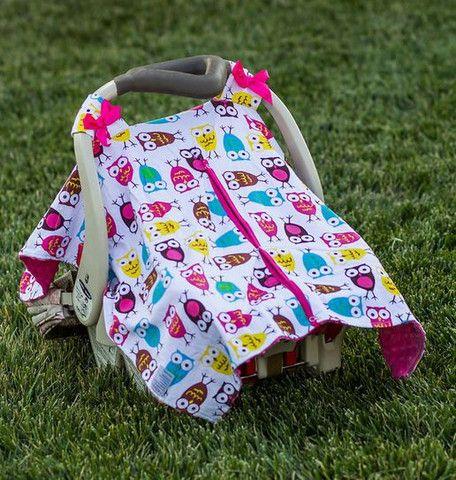 Owl Hot Pink Minky Car Seat Canopy Car Seats Baby Car