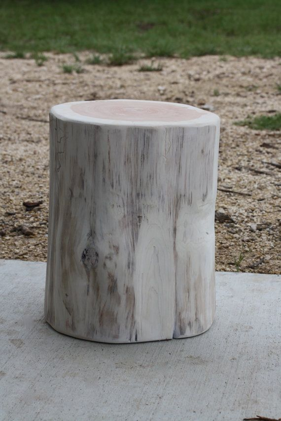 Tree Stump Seat Table Stool S M L Available Painted Wood Table