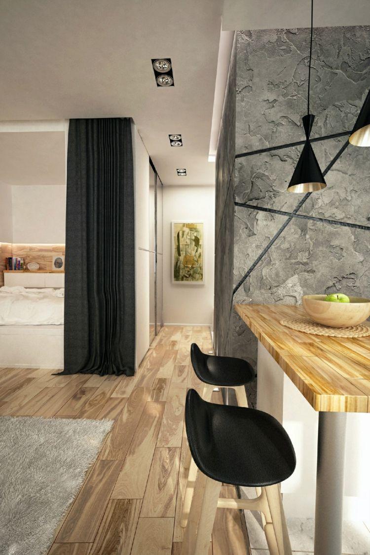 Einrichten 1 Zimmer Wohnung Hartholz Hell Hocker Schwarz Teppich