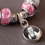 Silver plated European bead bail that has a dangling photo charm. Use this to slide on your european bracelet so you can add the photo charm. This photo charm is 12mm size and comes with glass dome. Y