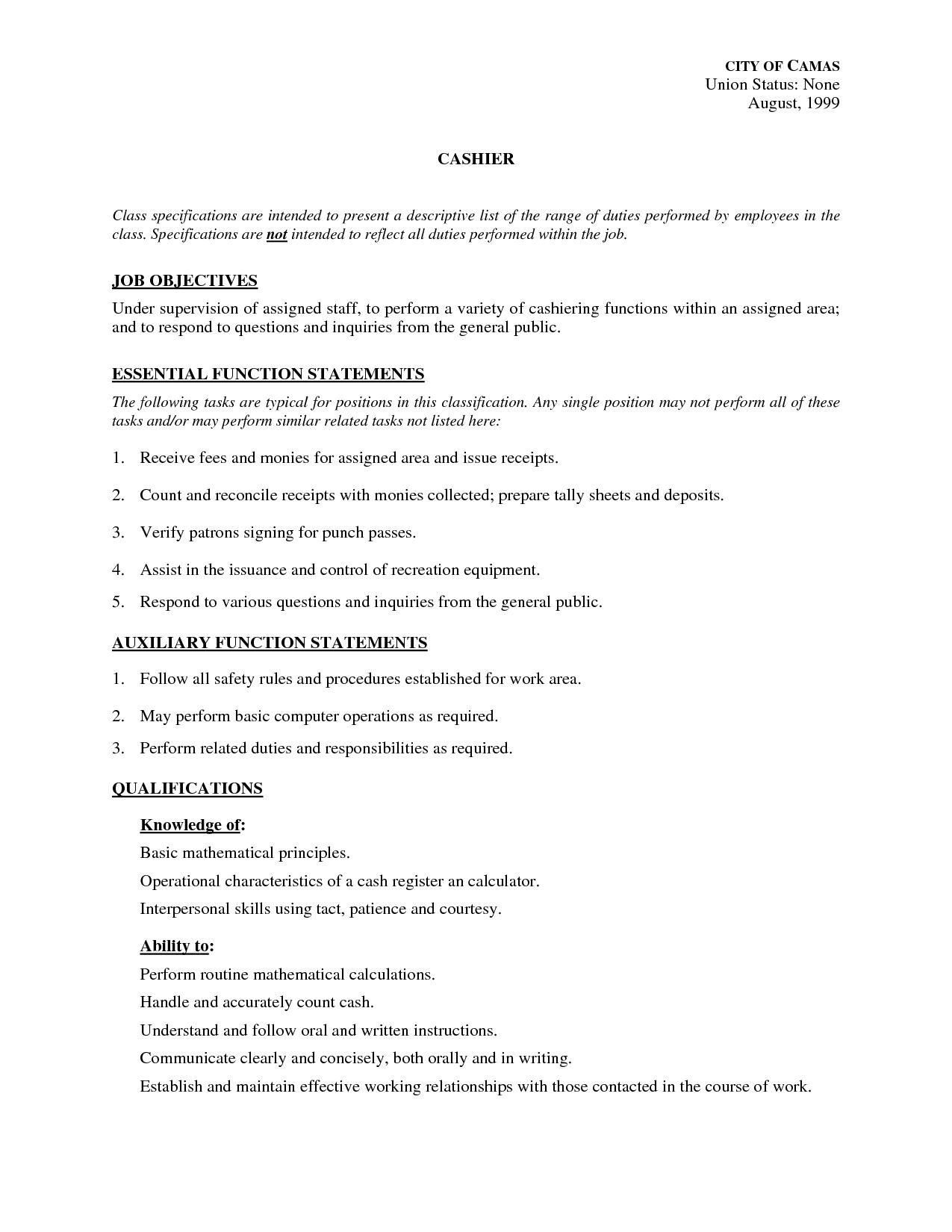 Job Descriptions For Resume Fascinating Resume Examples Job Duties  Resume Examples